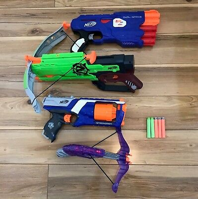Nerf Gun Bundle Of 4 Zombiestrike Crossbow Strongarm Dual-Strike Rebelle Job Lot