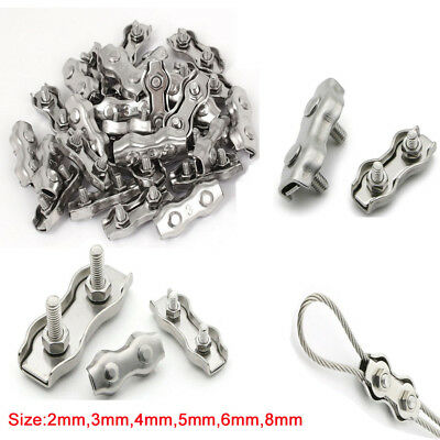 Duplex Clips Wire Rope Grips Cable Clamps Caliper Stainless Steel 2 3 4 5 6 8mm