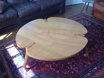 Very rare large elm 1960's clover shaped coffee table