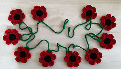 Red poppy bunting poppies garland Remembrance Day crochet flower wall decoration