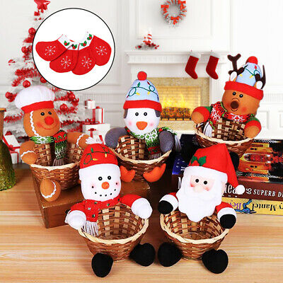 Merry Christmas Candy Storage Basket Decoration Santa Claus Snowman Decor Gifts