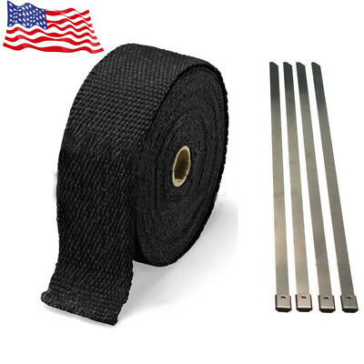 Exhaust Manifolds Titanium Heat Wrap Tape Thermal Wrap Black 1'' X 5M & 6 Ties