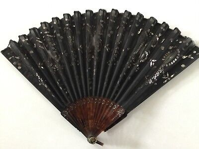 Antique Hand Fan With Black Lace & Silver Sequins
