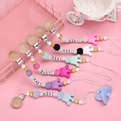 NEW Baby Personalised Name dummy clip pacifier chain dummie binky soother holder