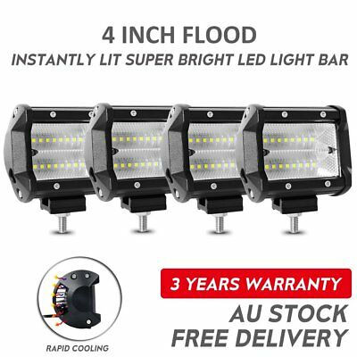 4x 4inch CREE LED Light Bar Spot Beam Driving Lamp Offroad 4WD Truck JEEP SUV