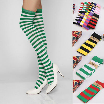 Women's Sheer Striped Thigh High Stockings Plus Size Over The Knee Socks