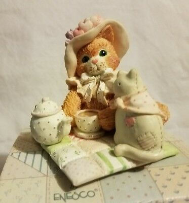 """New Nib Nos 1994 Enesco Calico Kittens """"love Pours From My Heart"""" 102210 Teatime"""