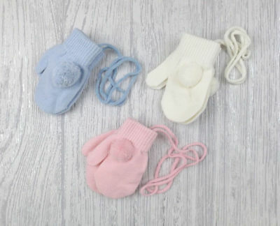 Baby Boys Girls Spanish Style Connected Knitted Pom Pom Mittens