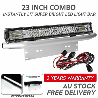 Tri Row 23inch CREE LED Light Bar Combo Beam+Silver Number Plate Frame+Free wire