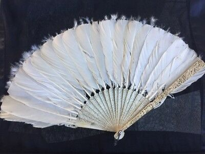 Antique 19Th Century Chinese Carved Fan With Feathers