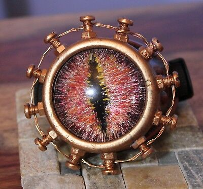 Steampunk monocle goggle with custom hand painted glass dragon eye