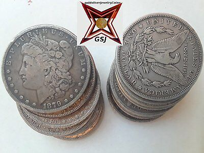 20 Morgan Silver Dollars US Coins 1800's/1900's Mixed Dates/Mints, (1 to 4 lots)