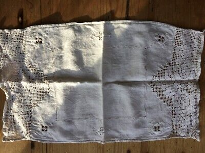 Vintage White Linen Tray Cloth, Centre Table Mat - Lace Edging and Embroidered