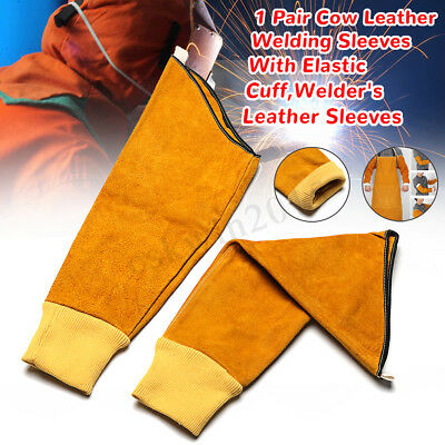 1 Pair Cow Leather Welding Sleeves With Elastic Cuff Welder's Sleeves Stitched