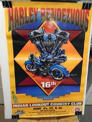 1994 16th Annual Harley Rendezvous Poster Pattersonville New York Kram Artist