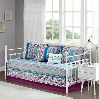 Luxury 6pc Purple Blue & Grey Geometric Daybed Set AND Decorative Pillow