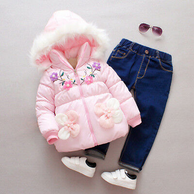 Winter Baby Kid Girl Coat Long Sleeve Hoodie Thick Warm Jacket Toddler Outerwear