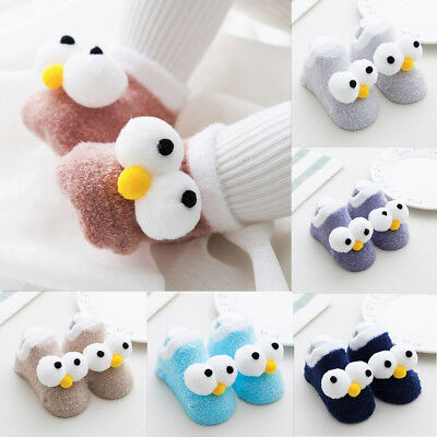 Toddler Babys Kid Cartoon Fluffy Warm Socks Boy Girl Anti-slip Slipper Socks NEW