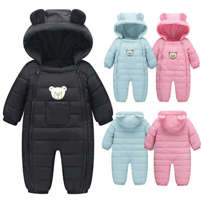Newborn Baby Boys Girls Romper Jumpsuit Infant Kids Thick Cotton Warm Outfit Set