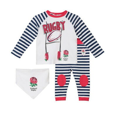 Official England RFU Rugby Baby 3 Piece Gift Set | White/Stripe | 2018/19 season