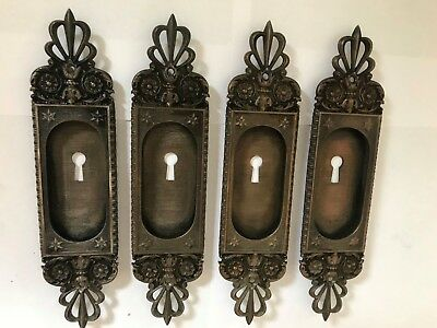 4 Antique Arts Craft Deco Victorian Cast Brass Bronze Pocket Door Plates Pulls