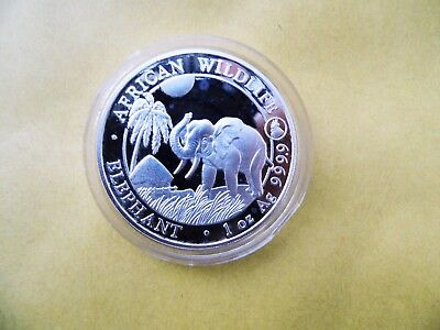 1oz. Pure Silver 2017 Somali Elephant bullion coin with Rooster privy mark.