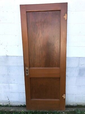 "ANTIQUE 2 PANEL PINE WOOD & PAINT SLIDING BARN INTERIOR DOOR 32"" x 80"" PICKUP"