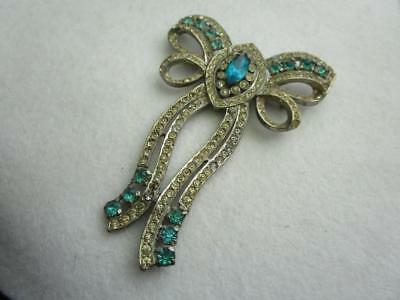 Large Vintage Silver Tone Brooch With Aqua And Clear Rhinestones