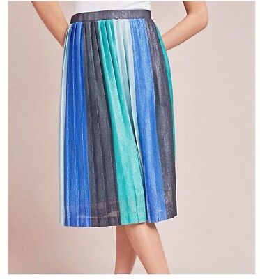 4dff5b15d Anthropologie NWT Maeve Sunburst Striped Metallic Pleated Midi Skirt Medium  M