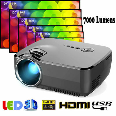 Mini 7000 Lumens LED Videoproiettore HD 1080P HDMI AV VGA USB SD Home Proiettore