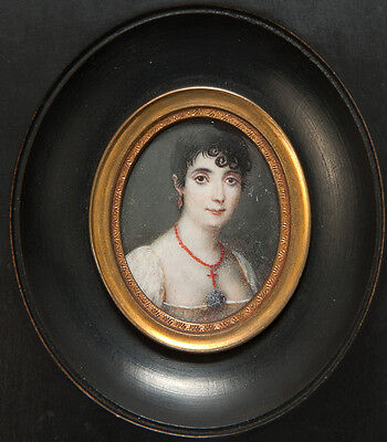 Antique French Empire Portrait Miniature of Lady with Red Coral Jewelry, c. 1800