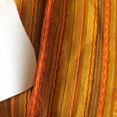 MID CENTURY vtg curtains drapes fabric orange gold amber vertical woven 1 panel