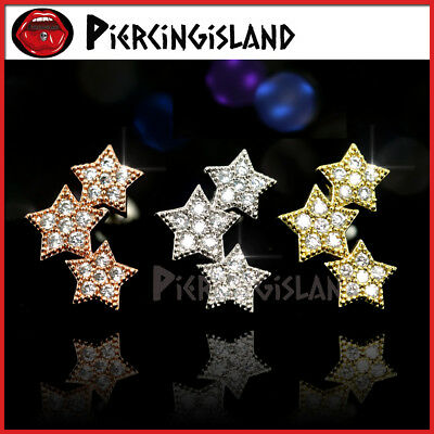 Crystal Trilogy Stars Ear Climber Cartilage Helix Stud Ring Bar Piercing Earring