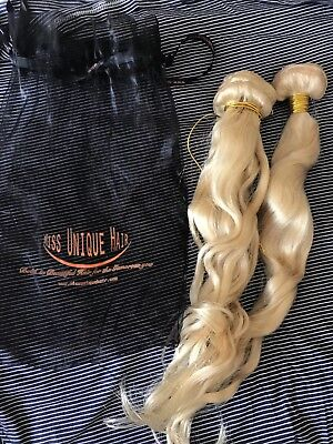 """VIRGIN Human HAIR AAA Clip in extensions FULL Head Gold Blonde New Straight 18"""""""