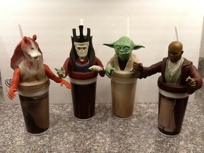 COLLECTIBLE STAR WARS Set Of 4 DRINKING CUP  WITH STRAW: FROM EPISODE ONE