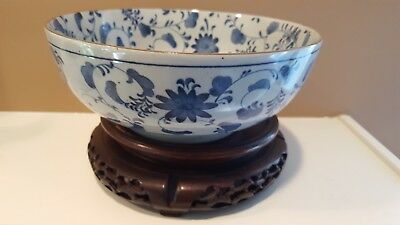 Antique Chinese Japanese Blue And White Porcelain Bowl With Flowers