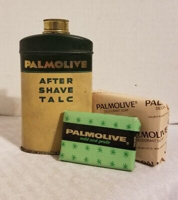 Vintage Palmolive After Shave Talc For Men Tin Bar Soaps Colgate Powder Tin Lot