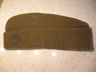 Vintage WW1 US ARMY GARRISON CAP,hat, with signal corps Collar Pin Insignia.