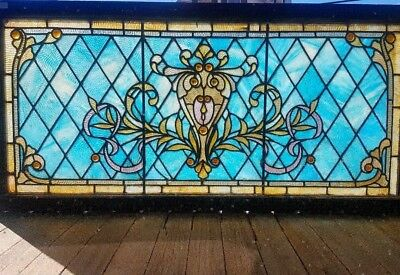 Antique Victorian Jeweled Stained Glass Window