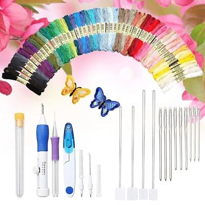 DIY Embroidery Stitching Bookbinding Tools Kit W/ Needles Thread Scissors Sewing