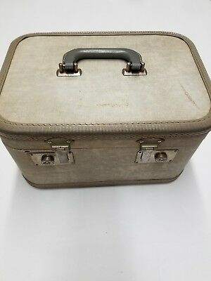 Vintage Mid Century Gray Train Case: Luggage Tote, Carry Case, Travel Case