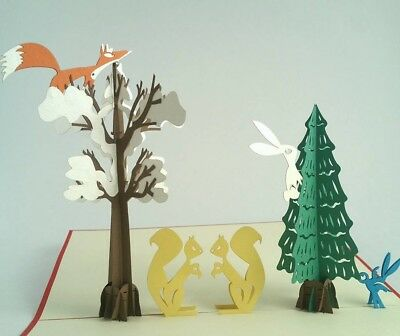 WINTER pop-up greeting card (beautiful & unique gift/decor/art)
