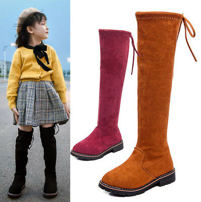 Kids Girls Over Knee Boots Stretch High Boots Winter Tie Top Princess Shoes Size