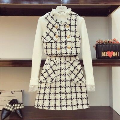 Plaid Check Portrait Knitted T-shirt Sleeveless Tops Tweed Skirt Free Self Ship