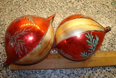 Vintage Christmas Tree Blown Glass Large  Ornaments