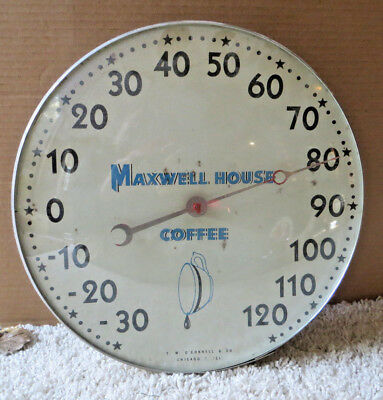 1950's MAXWELLHOUSE COFFEE ROUND BUBBLE GLASS THERMOMETER