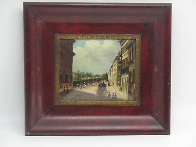 Hand Painted Oil on Copper Miniature Framed European Scene Horse Carriage