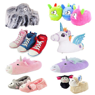 kids Boys Girls Unisex Childrens Novelty Slippers Fun Funny Unicorn Animal Gift