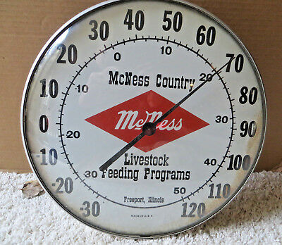 Vintage Mcness County Livestock Feeding Programs Round Bubble Glass Thermometer