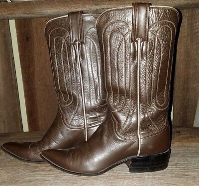 8ff7017cefd RARE VINTAGE 1950S JUSTIN Western Cowboy Boots Leather & Leather Sole EUC